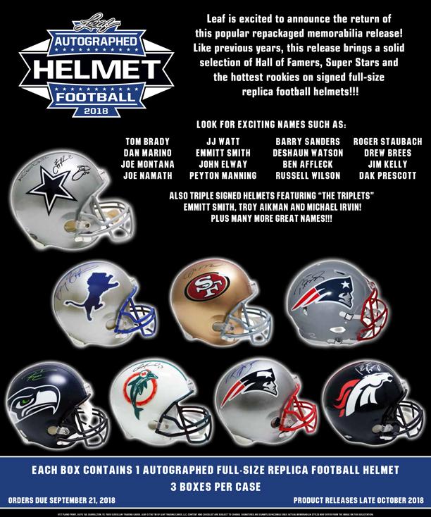 e7ae8c38794 2018 Leaf Autographed Football Helmet Edition - Leaf Trading Cards
