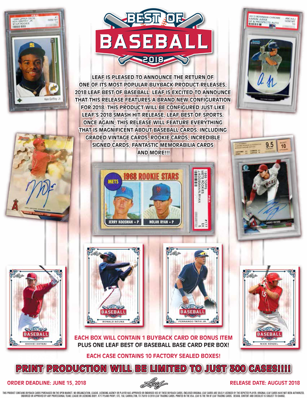 2018 Leaf Best Of Baseball Leaf Trading Cards