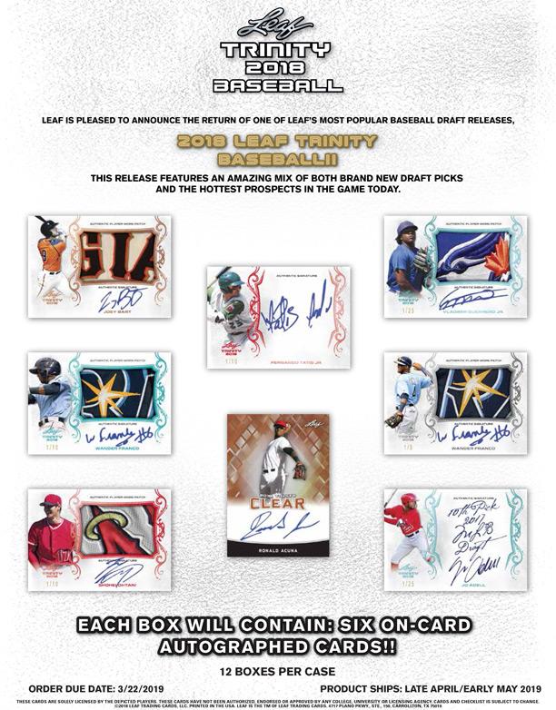 2018 Leaf Trinity Baseball Leaf Trading Cards