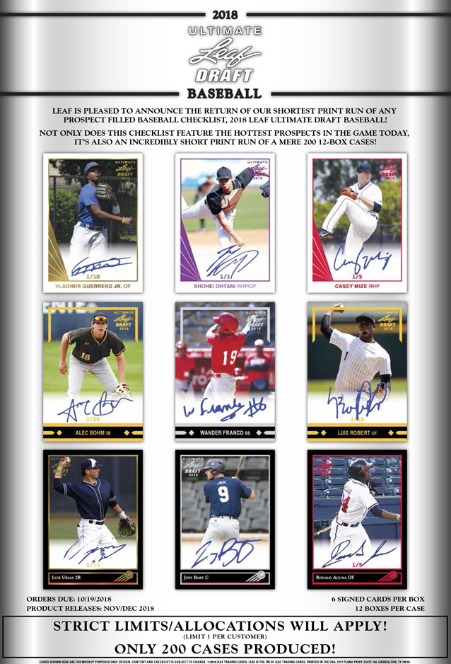 2018 Leaf Ultimate Draft Baseball Leaf Trading Cards